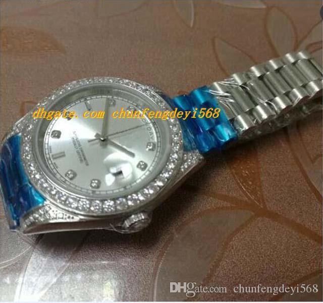 Najwyższej jakości Prestiżowe zegarki 118346 Platinum Diamond Bezel Papro Papers Automatyczne Marka Marka Zegarek Męski Zegarek