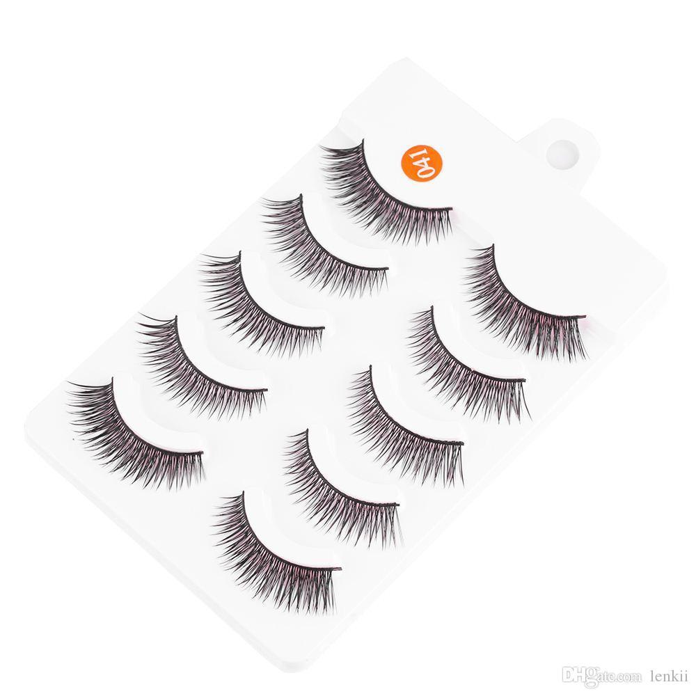 New Arrival Charm Lady 5 Pairs Natural Long Eye Lashes Professional Makeup Thick Fake False Eyelashes Hot