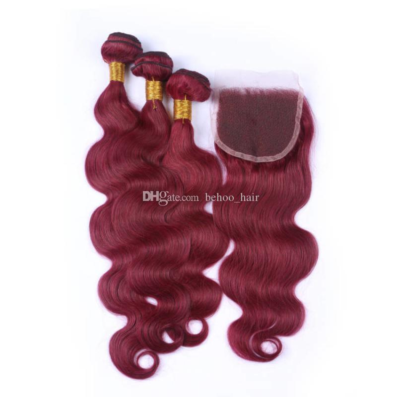 Brasiliano onda allentata del Virgin dei capelli della Borgogna 3 Bundle Con chiusura del merletto Vino Rosso # 99j Capelli con chiusura 4 pezzi Lotto Borgogna dei capelli