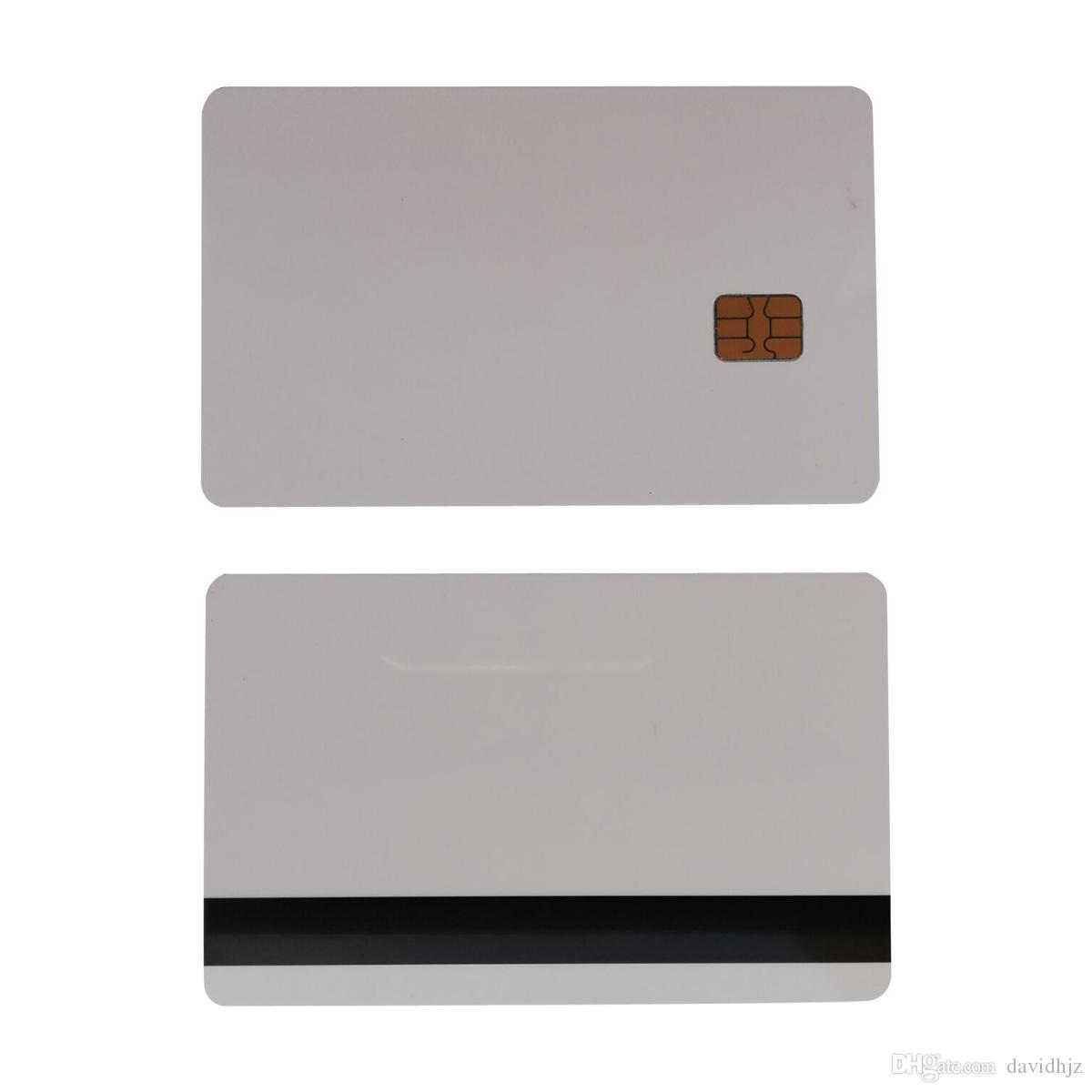 10pcs White SLE4442 Contacto Tarjeta inteligente de PVC de la viruta con 8.4mm Hico Raya magnética