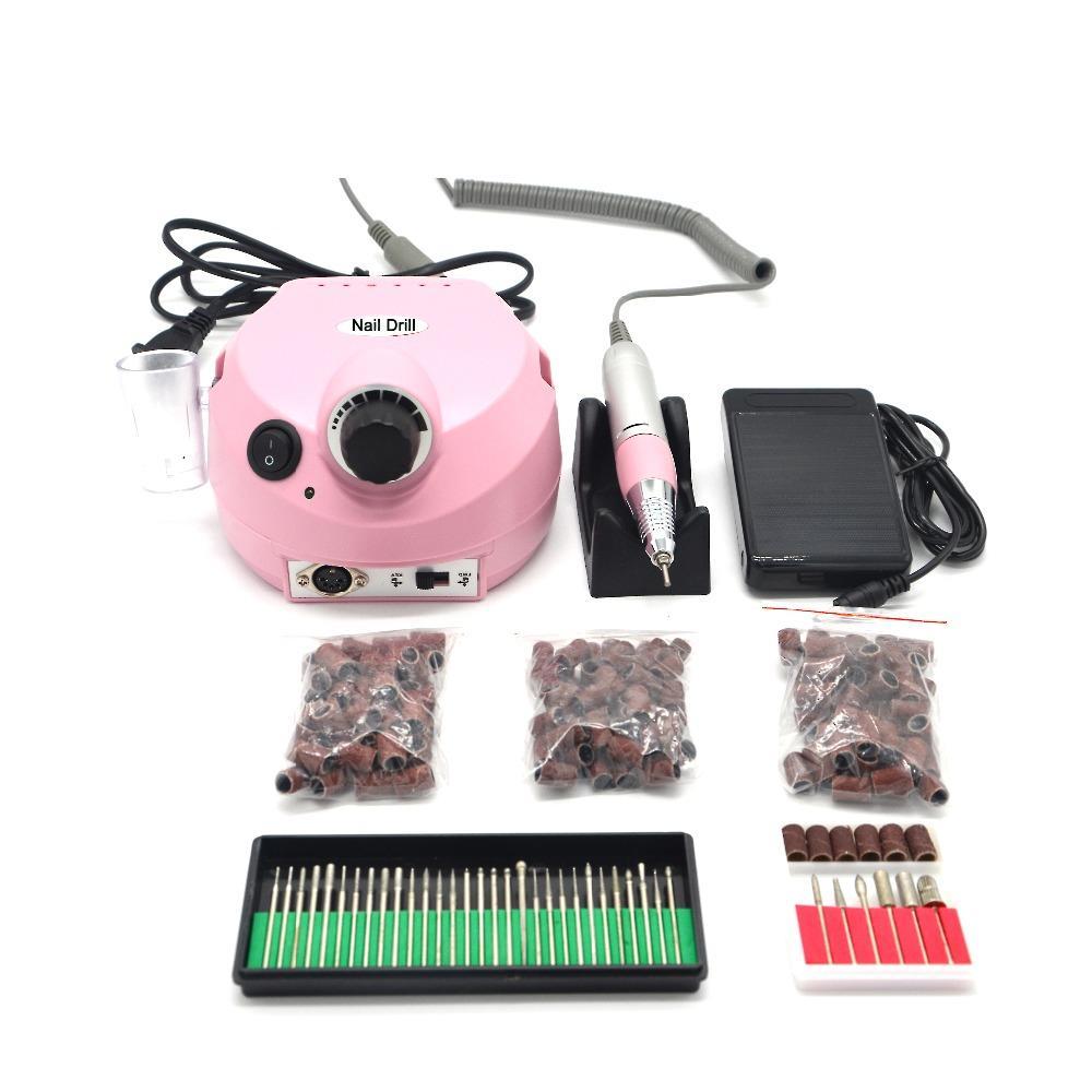 Pro 35000RPM Electric Nail Drill Machine Manicure Pedicure Drill Pen 30 drill bits 150pcs sand band Nail Accessory tools