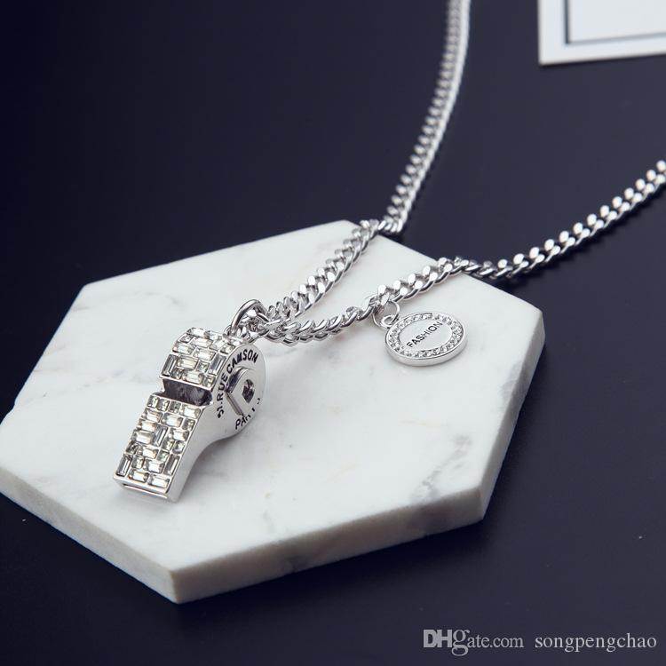 New trend Korean diamond whistle pendant sweater chain whistle necklace female jewelry temperament fashion jewelry long necklace