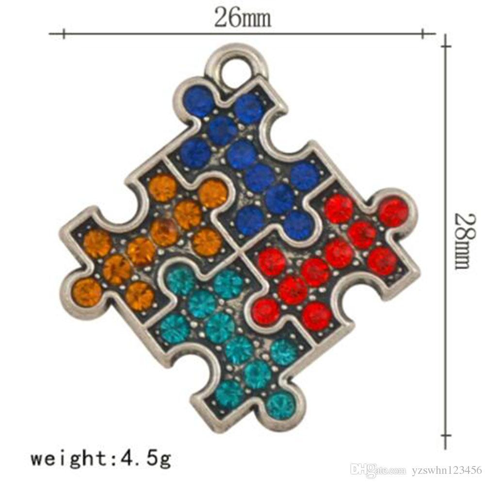 Красочные кристаллы очарование аутизм головоломки ювелирные изделия diy браслет ожерелье решений