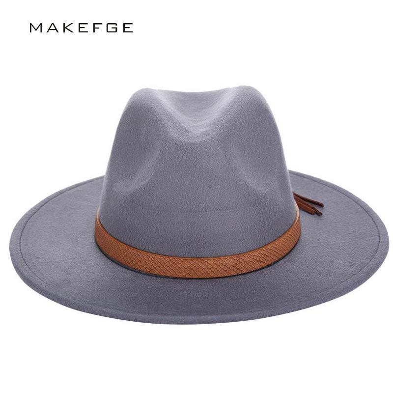 Automne Hiver Chapeau de soleil Femmes Hommes Fedora Hat classique large Brim Floppy Feutre Cap Cloche laine Imitation Chapeau