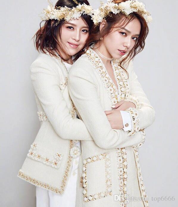 Abrigo de invierno de las mujeres de lujo de moda famosa marca banquete hecho a mano tridimensional flores perla perlas damas Custom OL lindo chaqueta larga
