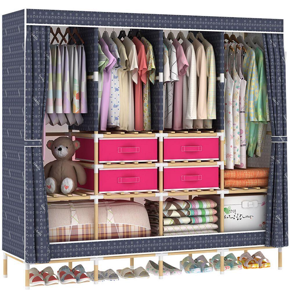 HHAiNi Enorme armario portátil de madera, 4 barras, kit de bastidor de almacenamiento de armario para dormitorio, espacio para colgar largo, 4 cajas de almacenamiento gratuitas