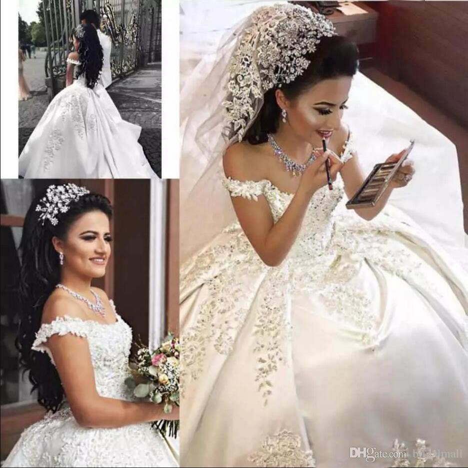 2019 av axelkula klänning bröllopsklänningar spets applikationer satin plus storlek brudklänningar blixtlås upp tillbaka bröllopsklänningar Vestidos de novia