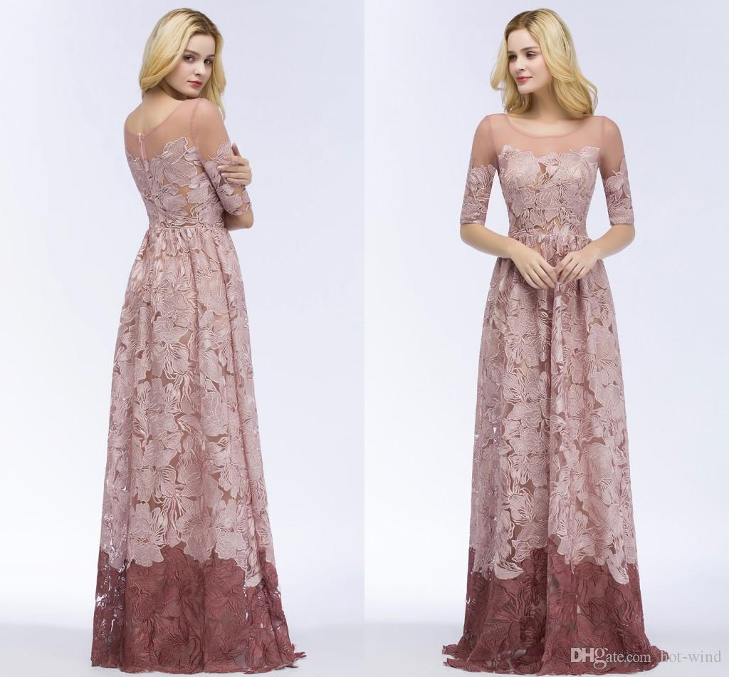 Dusty Pink Full Lace Prom Dresses Half Long Sleeves Jewel Neck Elegant Mother of Bride Dresses Wedding Guest Evening Gowns CPS910