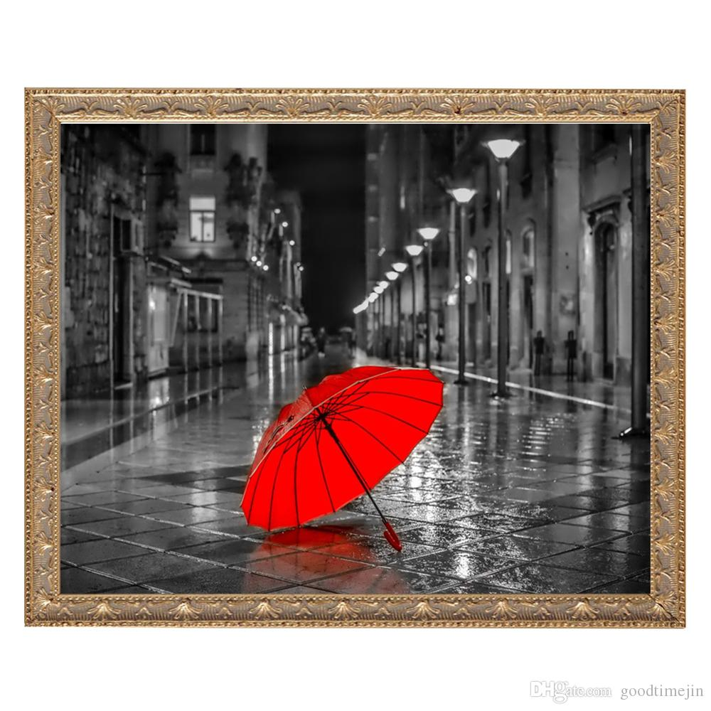5D DIY city and umbrella landscape painting diamond cross stitch home living room and room decoration