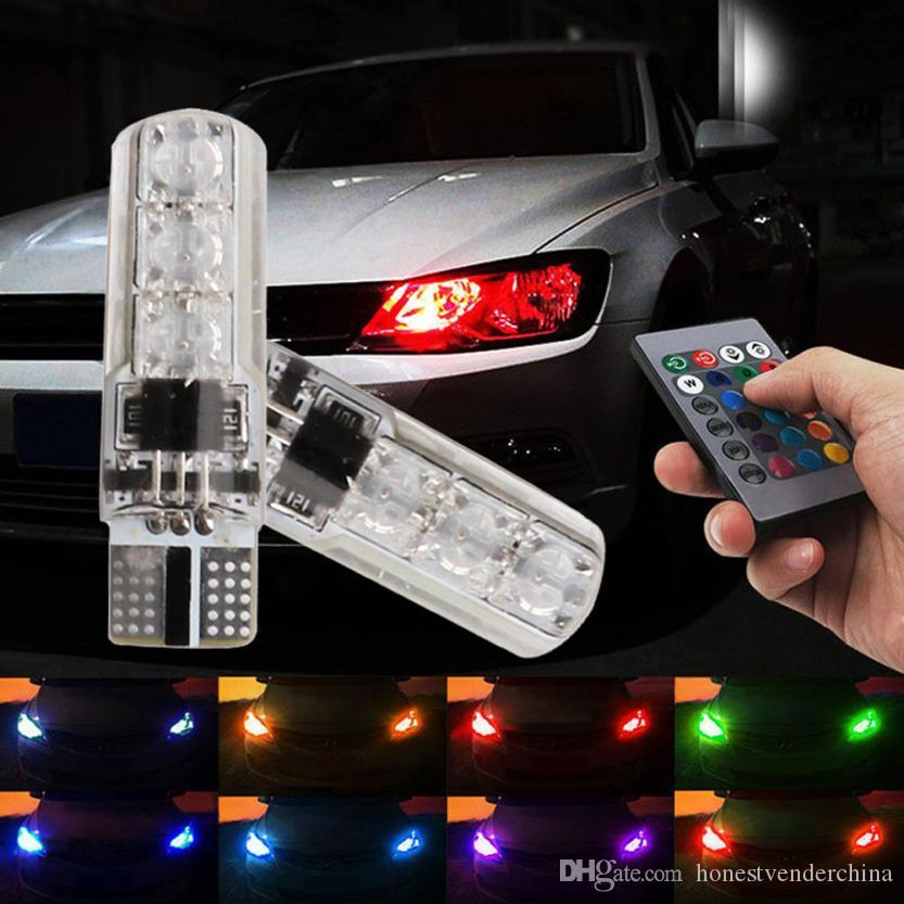 2X 2020 أحدث أضواء السيارات عن بعد ضوء T10 5050 LED RGB متعددة الألوان الداخلية إسفين الجانبية الخفيفة ستروب تحكم لاسلكي سيارة التصميم