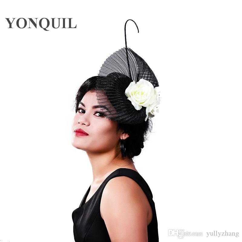 Elegant Dotted Mesh Bridal HATS Wedding Hats And Fascinators For Woman Party Feather Veil Headdress Vintage Tocados Sombreros Bodas MD16012