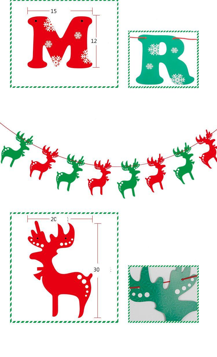Christmas Party flag banner colorful Christmas Decorations Home Decor Stocking Santa Claus Snow tree snowman Xmas elk pattern flag CFG01