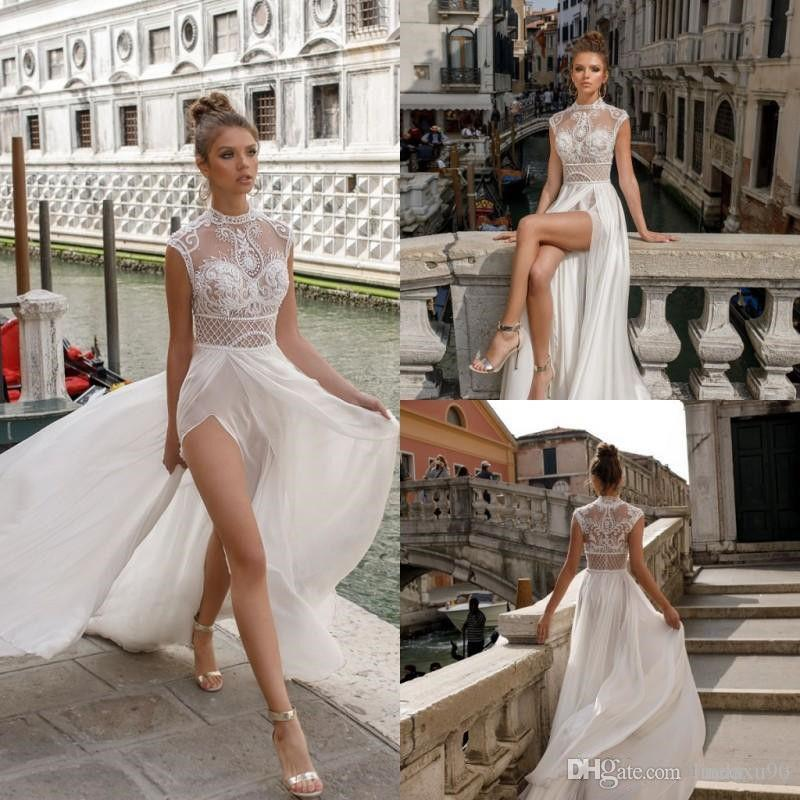 2019 Julie Vino lado alto de Split boda de playa de los vestidos de cuello alto de encaje apliques de novia Vestidos barato gasa vestido de novia de Boho