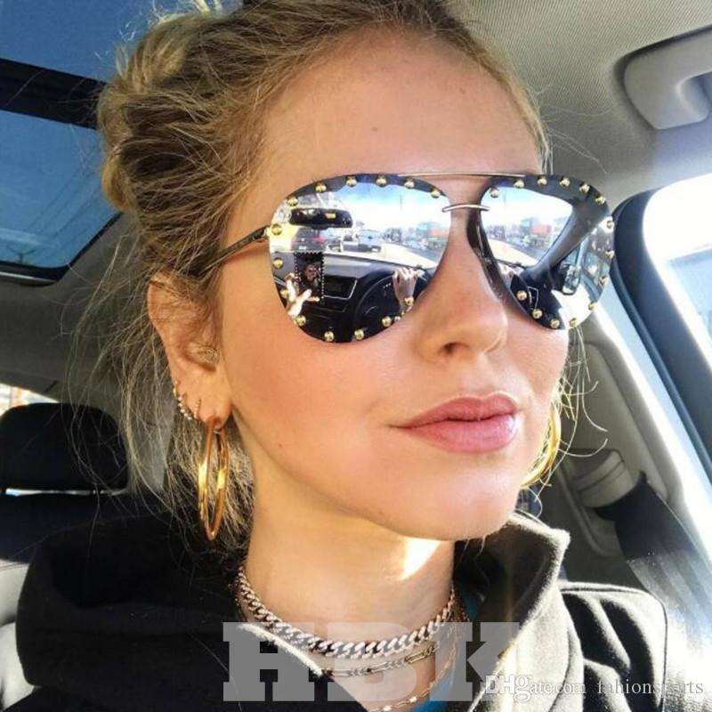 4d2c34f71 Luxury Italy Oversized Aviator Sunglasses Women UV400 Retro Brand Designer  Big Frame Sun Glasses For Female Silver Eyewear