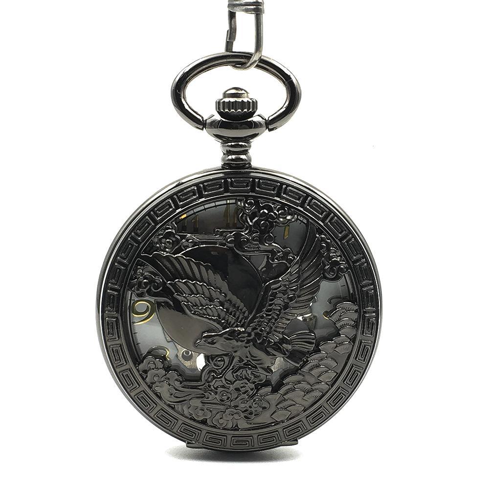미국 엠블럼 인감 독수리 그레이트 Engraved 기계 손 권선 골동품 포켓 시계 멋진 아날로그 남성 여성 블랙 케이스 시계 선물