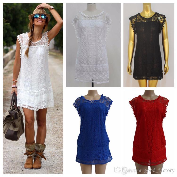 Moda verão casuais vestidos de noiva das mulheres rendas com bolas saia curta mangas soltas ladies 'clothing one piece dress plus size