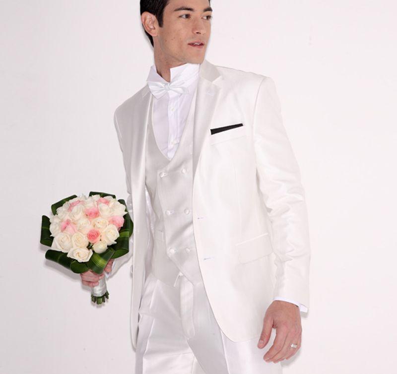 Weiße Hochzeit Anzüge Männer Anzüge Bräutigam Bräutigam Prom Blazer Benutzerdefinierte Formale Zugeschnitten Smoking 3 Stücke Slim Fit Terno Masculino Jacke + Pants + Vest