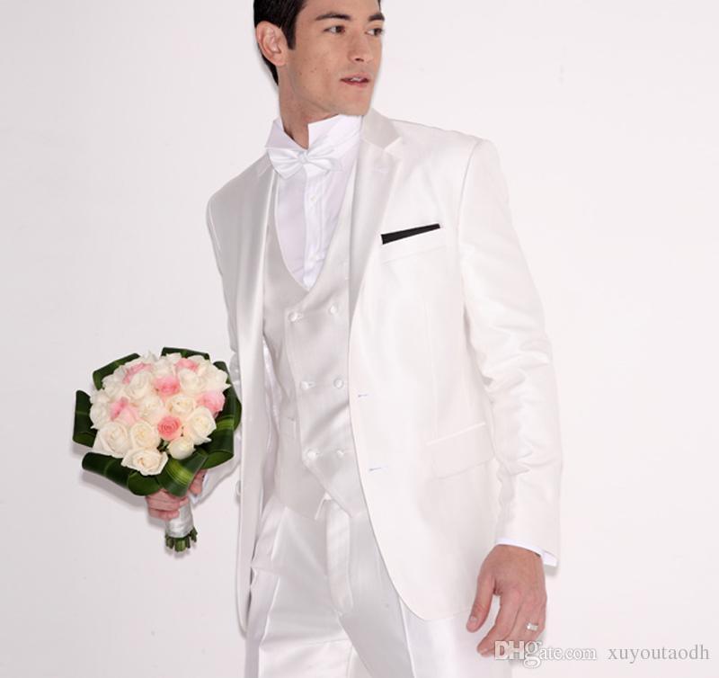 Beyaz Düğün Takımları Erkekler Damat Damat Balo Blazer Özel Resmi Terzi Smokin 3 Parça Slim Fit Terno Masculino Ceket + Pantolon + Yelek