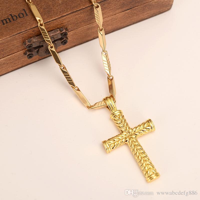 رجال نساء الصليب 18 كيلو الصلبة الذهب gf سحر خطوط قلادة قلادة الأزياء والمجوهرات المسيحية مصنع wholesalecrucifix الله هدية