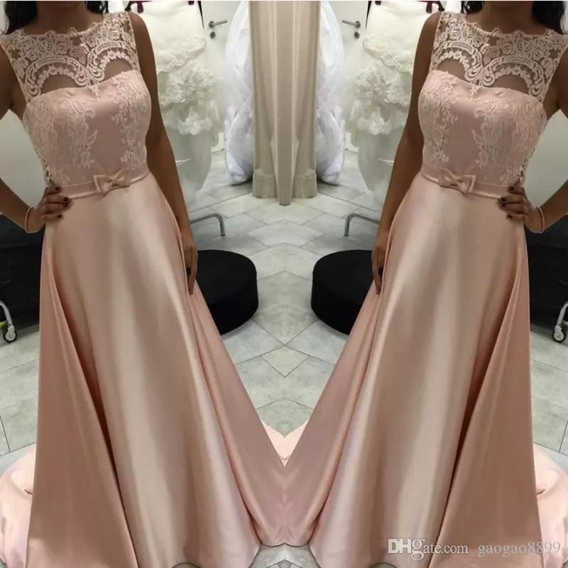 Compre Elegantes Vestidos De Noche De Color Rosa Con Encaje Y Faja De Lazo Moda Hasta El Suelo Satinado Vestido De Fiesta De Graduación Formal Largo Desgaste A 85 82 Del Gaogao8899