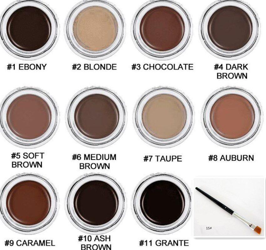 Sourcil étanche de la marque avec des brosses oculaires Améliorants Gel de sourcils Crème de sourcils Maquillage de maquillage Brown 12Couleurs 4G 0.14oz Drop Shipping