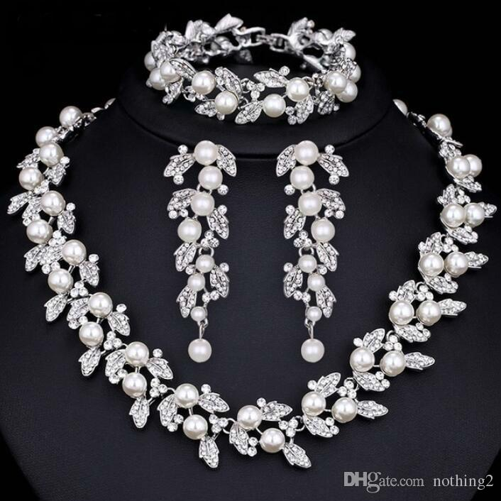 jewelry sets wedding jewelry sets for women Pearl Bridal Jewelry Sets Silver / Gold-Color Necklace Set Wedding