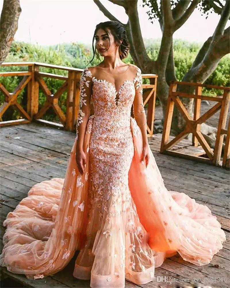 Sexy Bright Ornage Wedding Dress Match Detachable Overskrit Luxury Beaded Applique Long Sleeves Mermaid Bridal Dress Charming Wedding Gowns