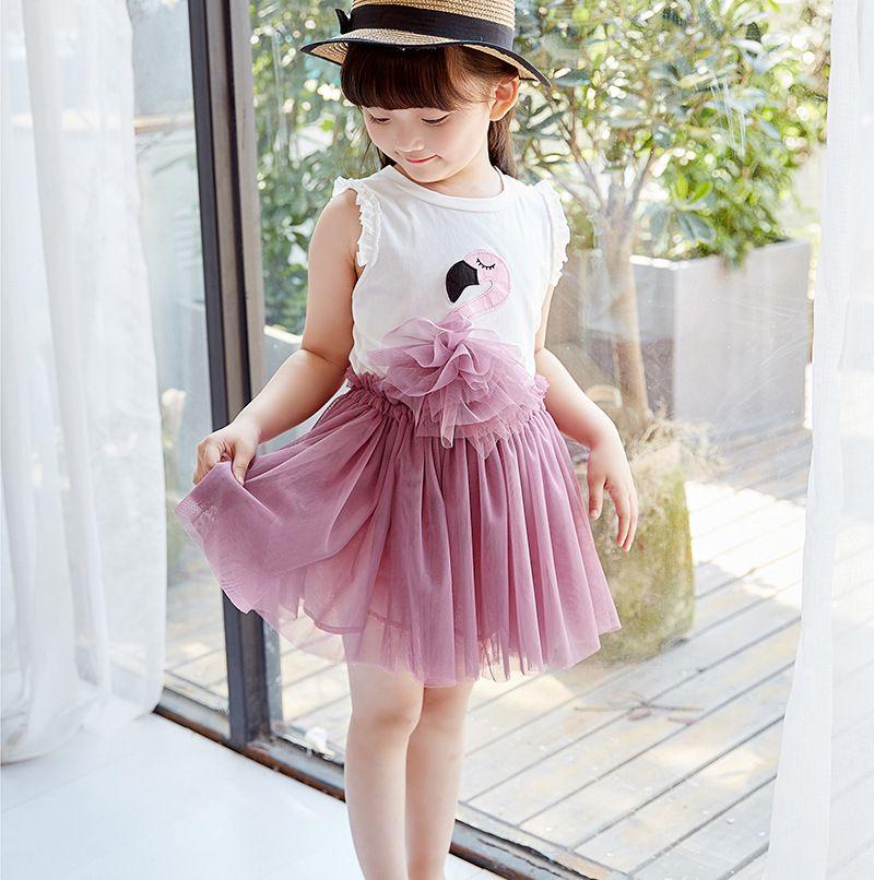 Yeni Kızlar Yaz Giyim Setleri Flamingo Çocuk Giyim Kolsuz Pamuk Üst + Dantel Tutu Etek Çocuk Kıyafetleri 2 adet Setleri