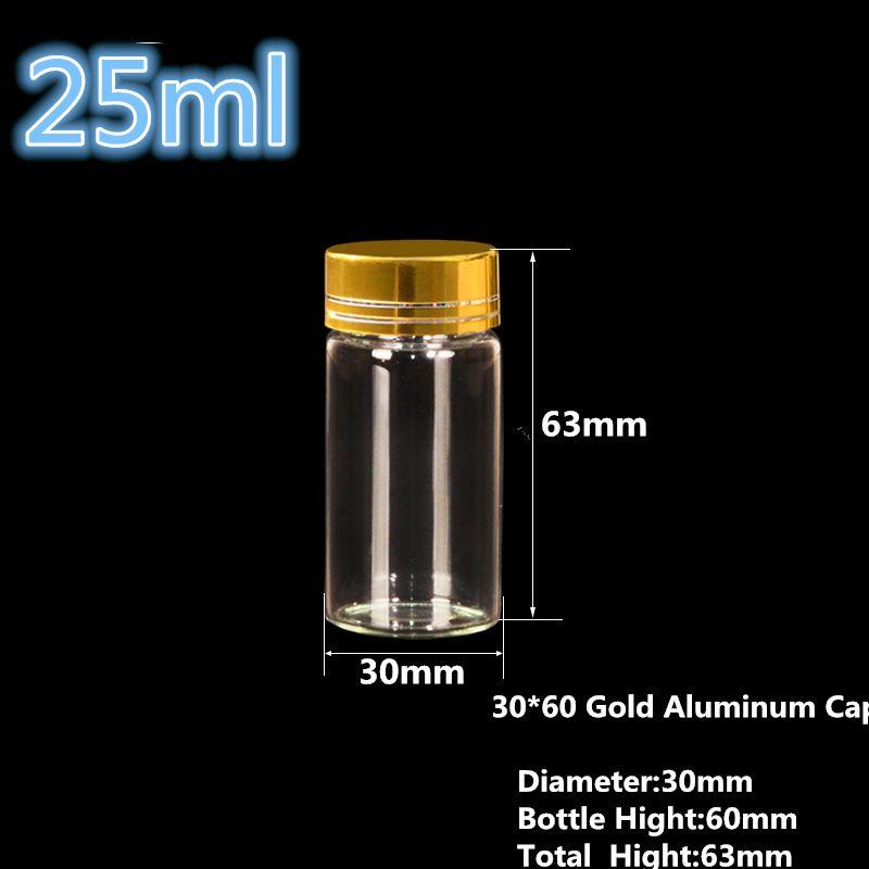 Empty Clear Glass Bottles Threaded Plastic Cap Wholesale Lots Diameter of 27mm