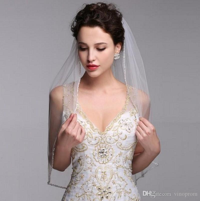 Tulle Bordo veli da sposa in rilievo con pettine uno strato bianco avorio tulle velo da sposa semplice breve sposa accessori da sposa 2018