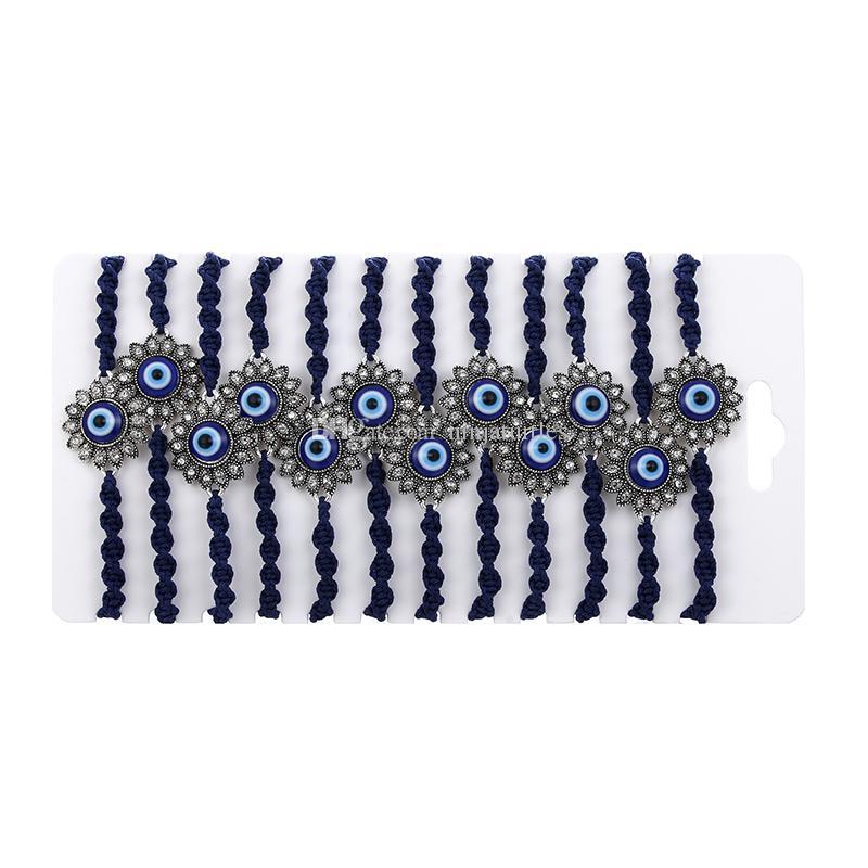 12pcs Tibetan Lucky Charm Blue Eyes Flower Bracelets & Bangles For Men Women's Hand-woven Knots Nylon Thread Rope Bracelets Gifts MB199