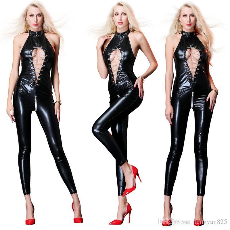 Women's Zipper shiny wetlook PVC leather faux catsuit costume jumpsuit Clubwear Fancy Dress XL-2XL 6750