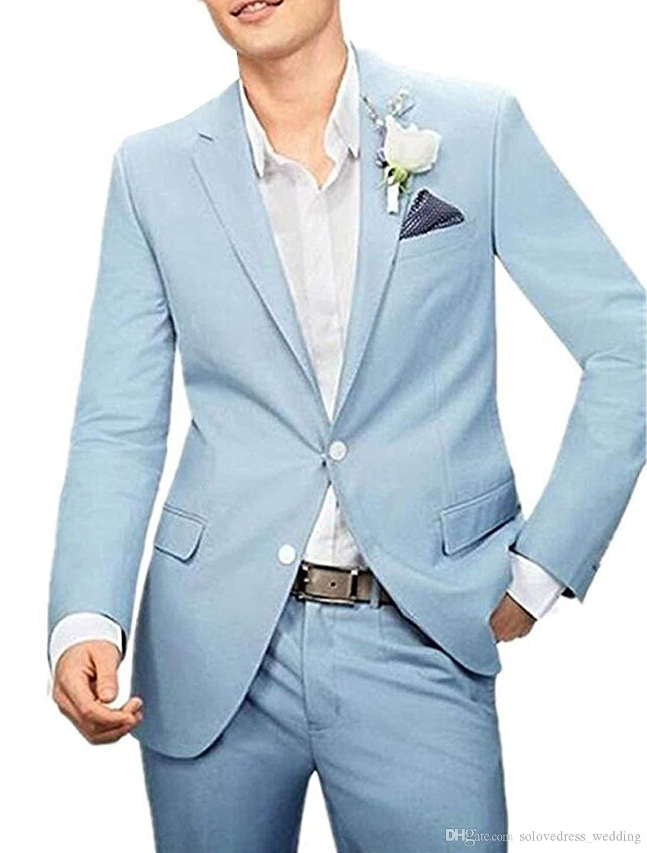 Nouveau mariage bleu hommes costumes deux blazer bouton avec un pantalon marié smokings costumes pour hommes deux pièces (veste + pantalon)