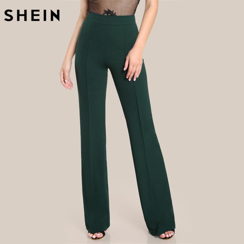 Wholesale-SHEIN High Rise Piped Dress Pants Army Green Elegant Pants Women Work Wear High Waist Zipper  Boot Cut Trousers