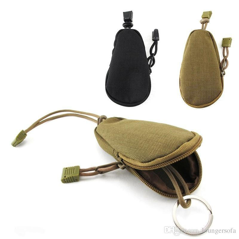 Mini Pocket Key Bag With Metal Ring Parachute Cord Non Slip Pull Head Wallet Easy To Carry Outdoor Purse Brown Black 7yt B