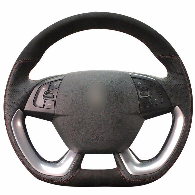 Top Leather Steering Wheel Hand-stitch on Wrap Cover For Citroen DS5 DS4S