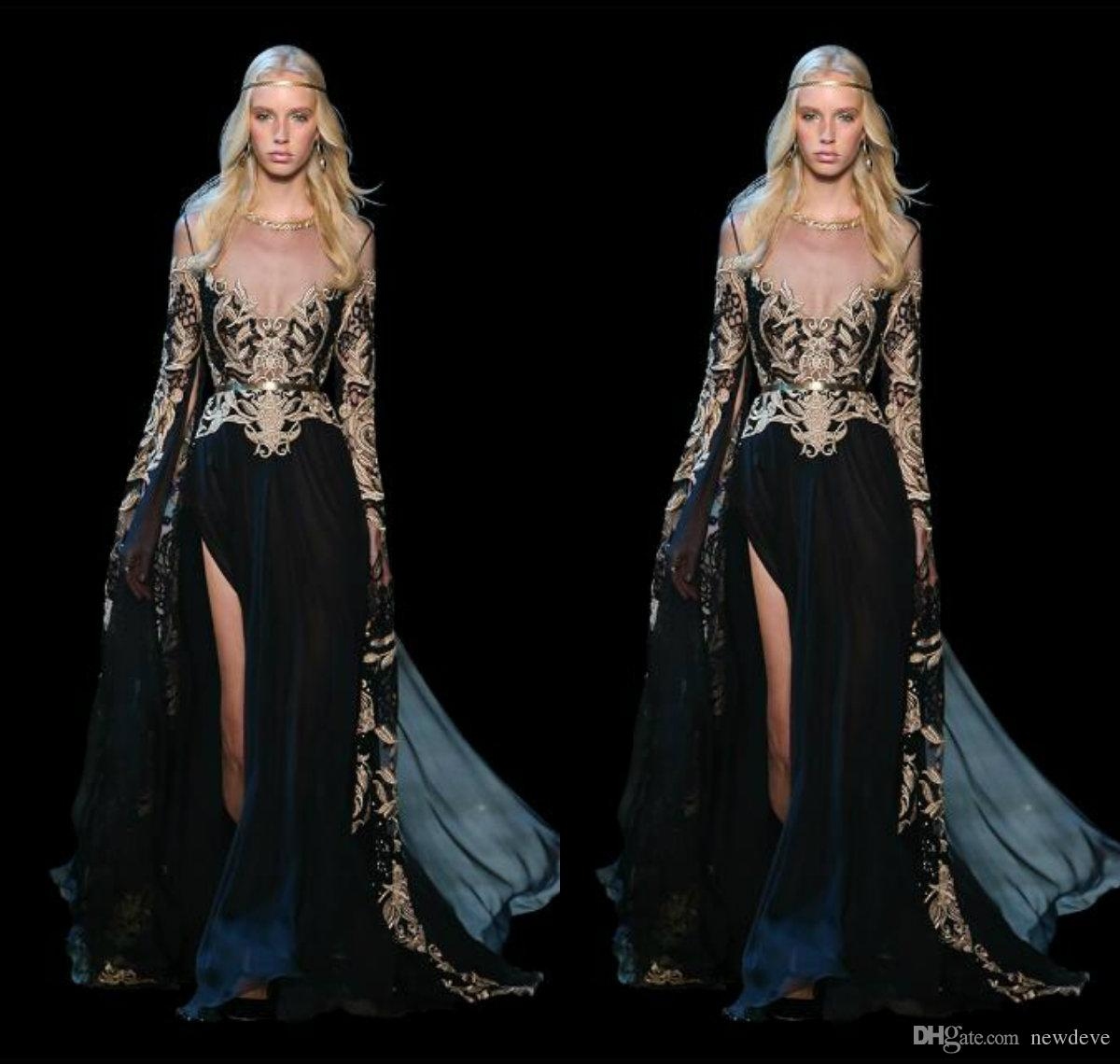 Front Split With Sashes Dresses Elie Saab Art Deco Inspired Neck Lace Appliques Prom Gowns Black Formal Long Sleeve Dress Evening