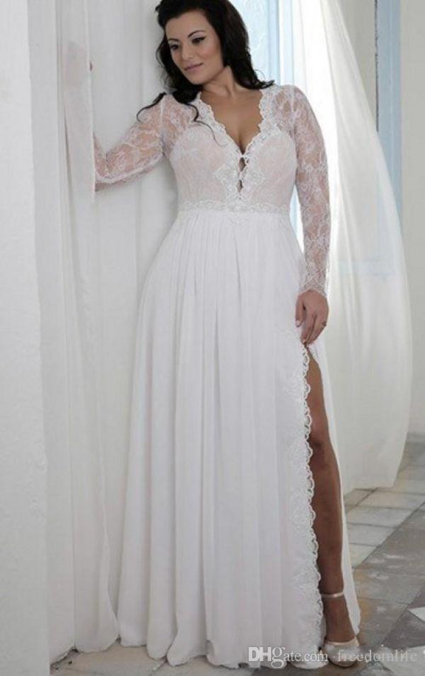 Discount 2018 Beach High Split Plus Size Wedding Dresses Long Sleeves  Chiffon Deep V Neck Designer Illusion Lace Beaded Boho Bridal Wedding Gowns  ...