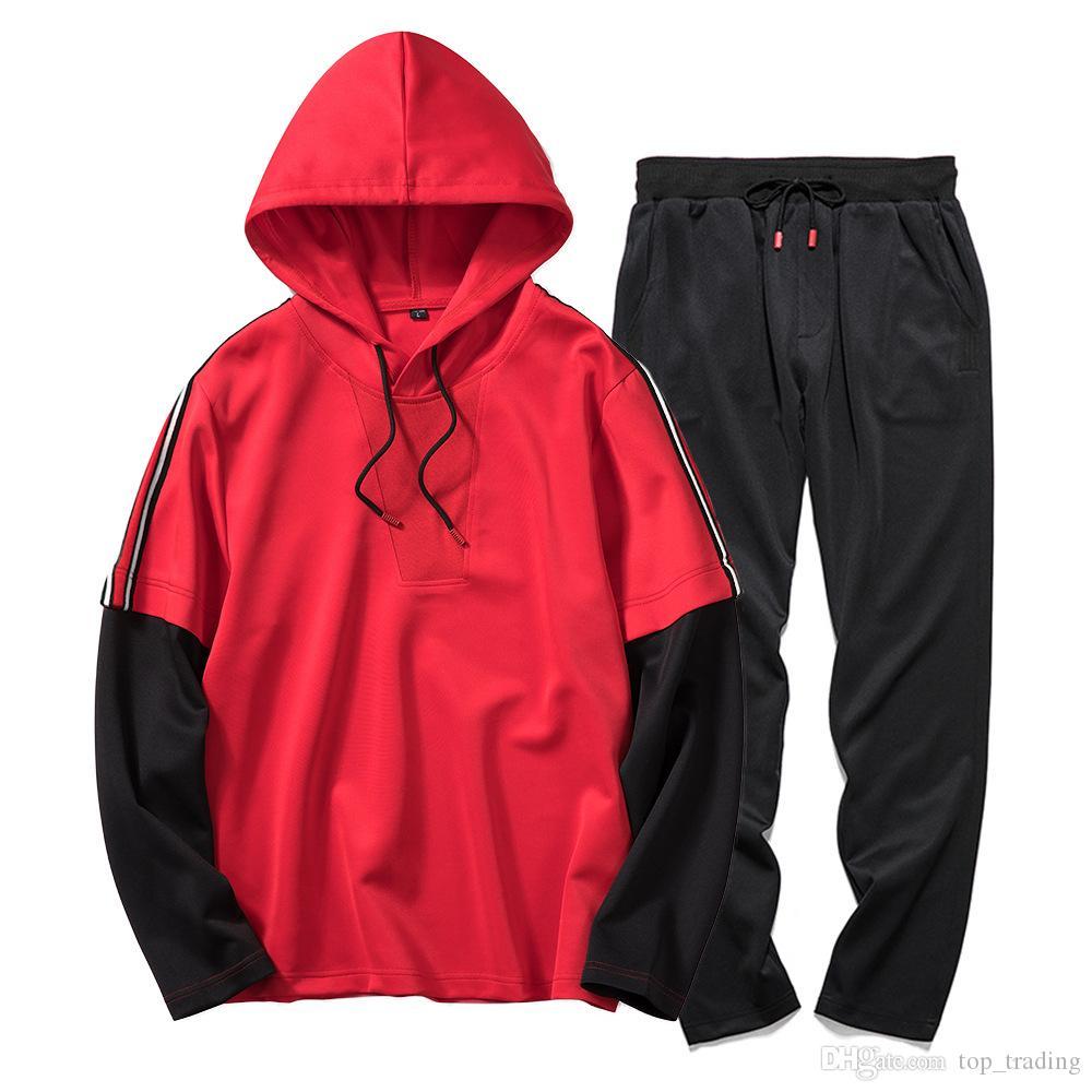 Erkekler Eşofman Nedensel Hoodies Pantolon Mens Sportwear Hip Hop Streetwear Spor Suit tişörtü dış giyim takım elbise Bahar Sonbahar Kaliteli TZ30