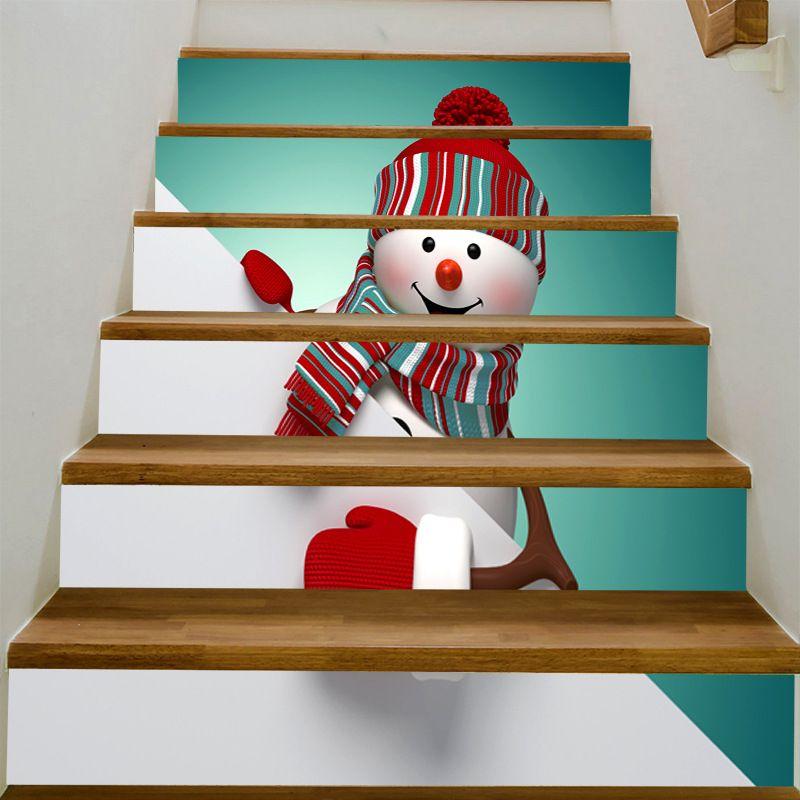 Navidad del muñeco de nieve 3D para escaleras Risers el conjunto de etiquetas Escalera Calcomanías extraíble impermeable Papel pintado mural para la decoración de Navidad