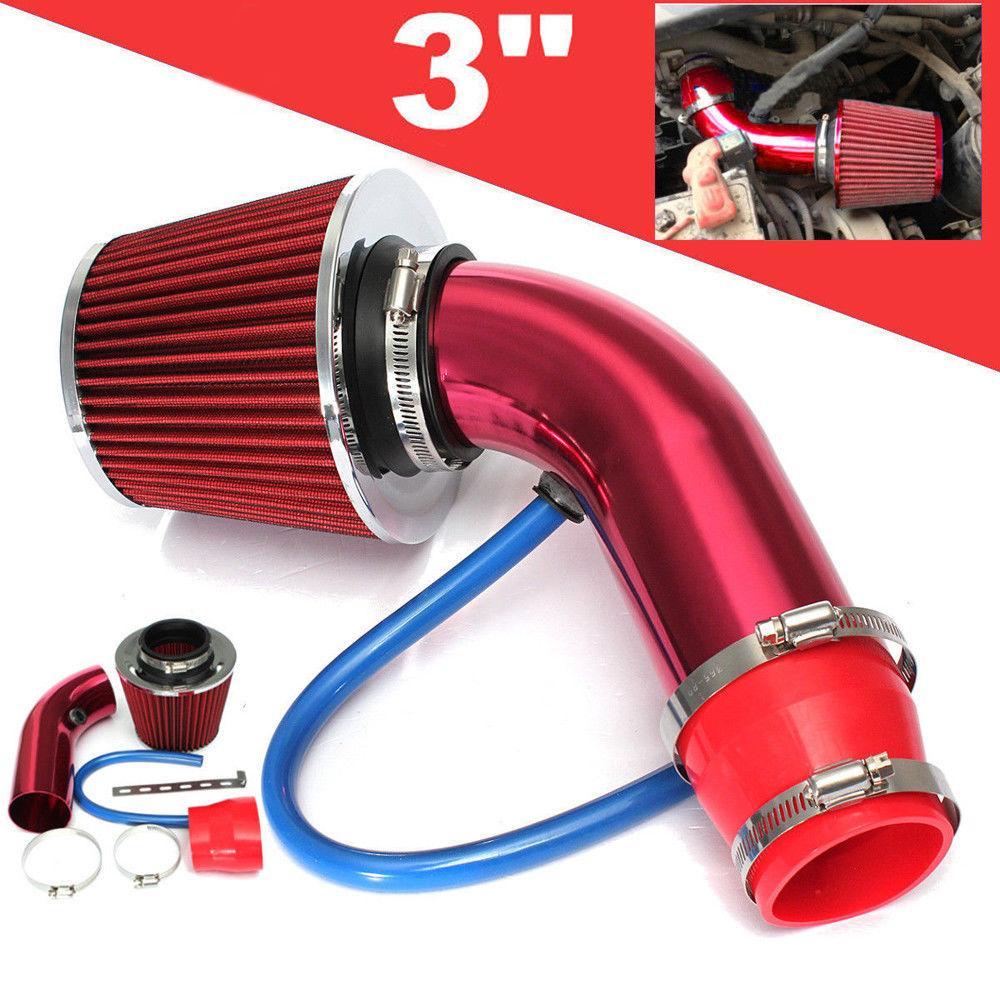Universal 3 inch Car Cold Air Intake Filter Air Filter Kit Hose Pipe Red