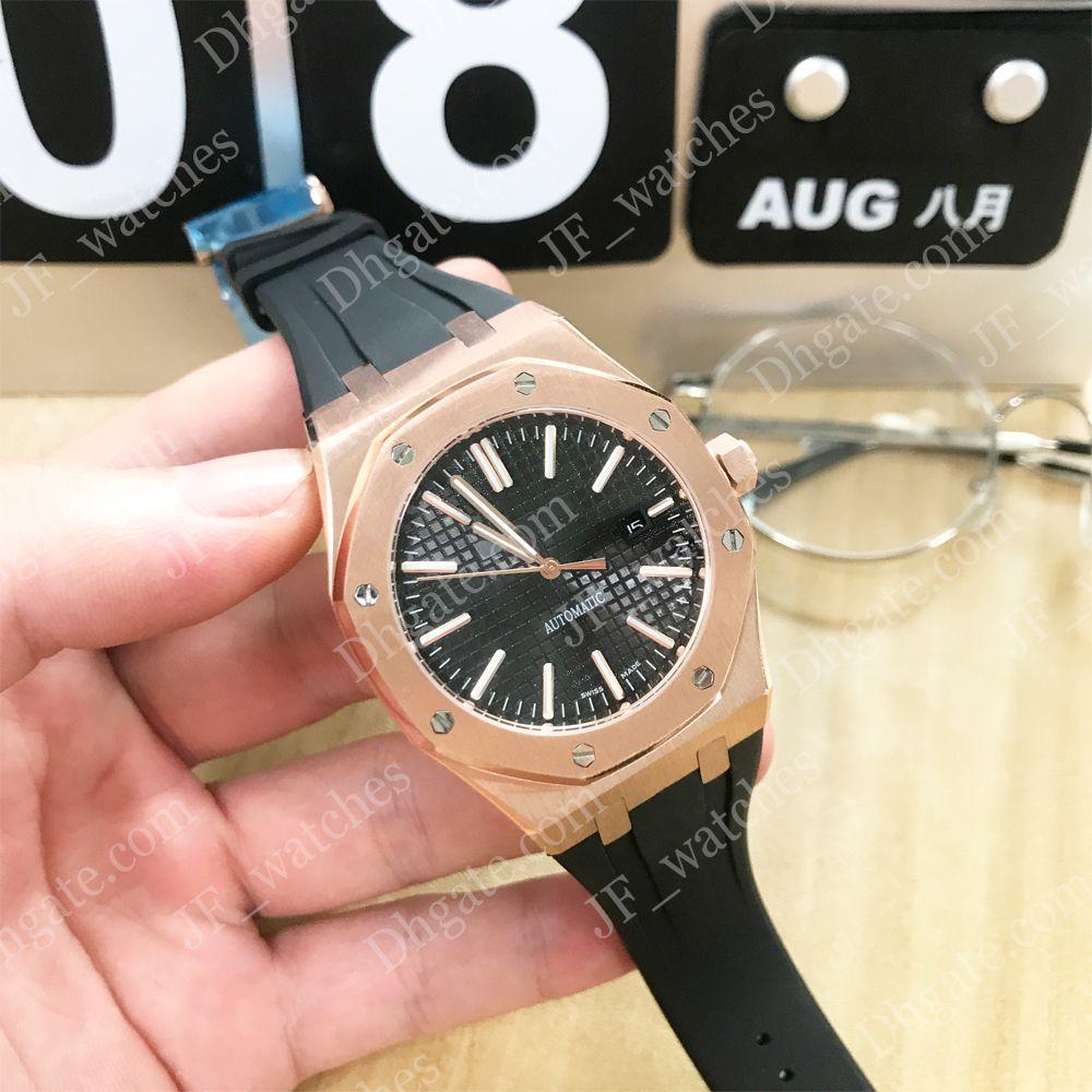 O best selling mens watch pulseira de borracha preta de discagem ouro aço inoxidável 2813 máquinas automáticas 15710ST à prova d 'água 30 M relógio