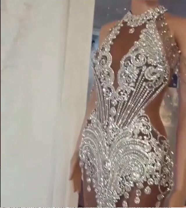 Вечерние платья Юсеф Aljasmi серебряные кристаллы Юсеф Aljasmi высокая шея с плеча Русалка длина пола кисточки кристаллы бисером