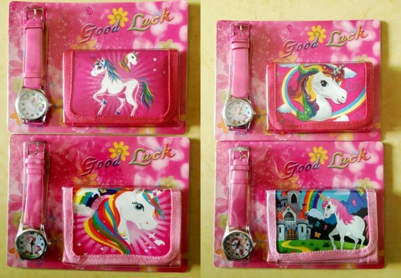 2 pçs / lote Unicorn bolsas relógio conjunto meninas carteira dobra bolsas de bolso rosa rosa dos desenhos animados artigos de papelaria organizador organizador saco kids bolsa gga1209