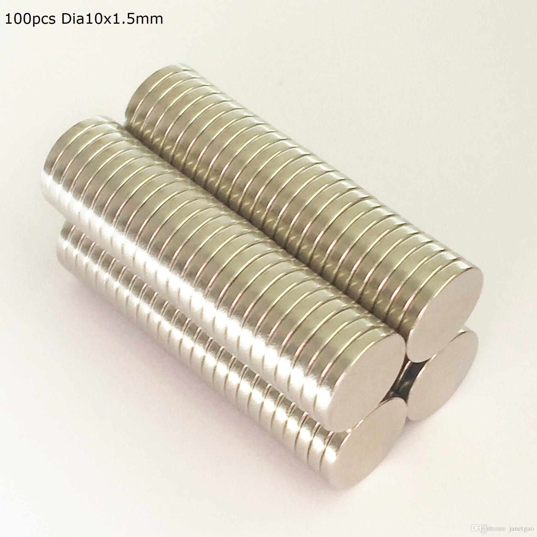 500pcs Neodymium Magnetic disc dia10x1.5mm N35 rare earth permanent strong quality neodymium magnet bulk NdFeB magnets nickle coated craft