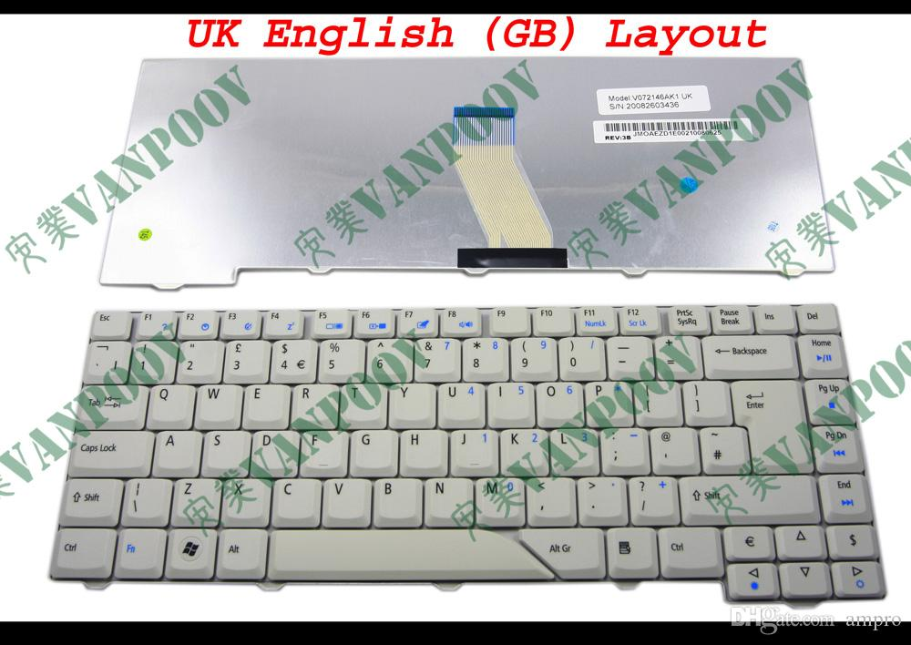 New Laptop keyboard for Acer Aspire 4710 4220 4320 4520 4720 5300 5720 5920 Grey White UK (GB) English - V072146AK1 UK