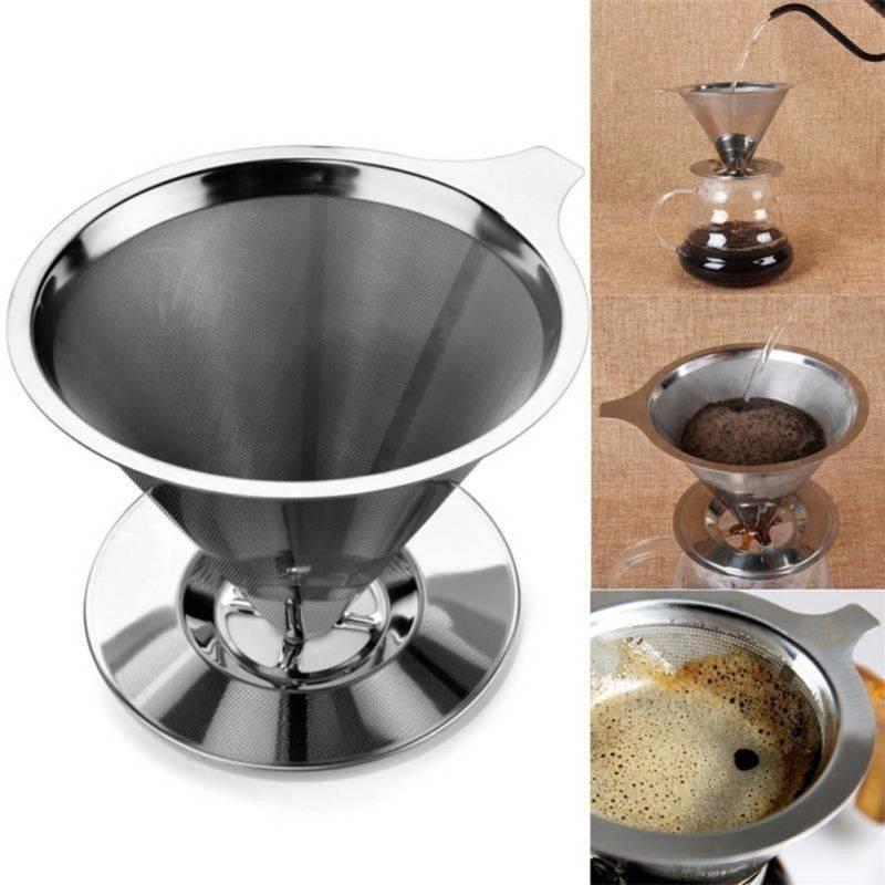 Café de filtro Ferramenta de aço inoxidável Cone reutilizável café de filtro cestas de malha peneira despeje sobre Coffee Tea Dripper Com Stand Holder Handmade