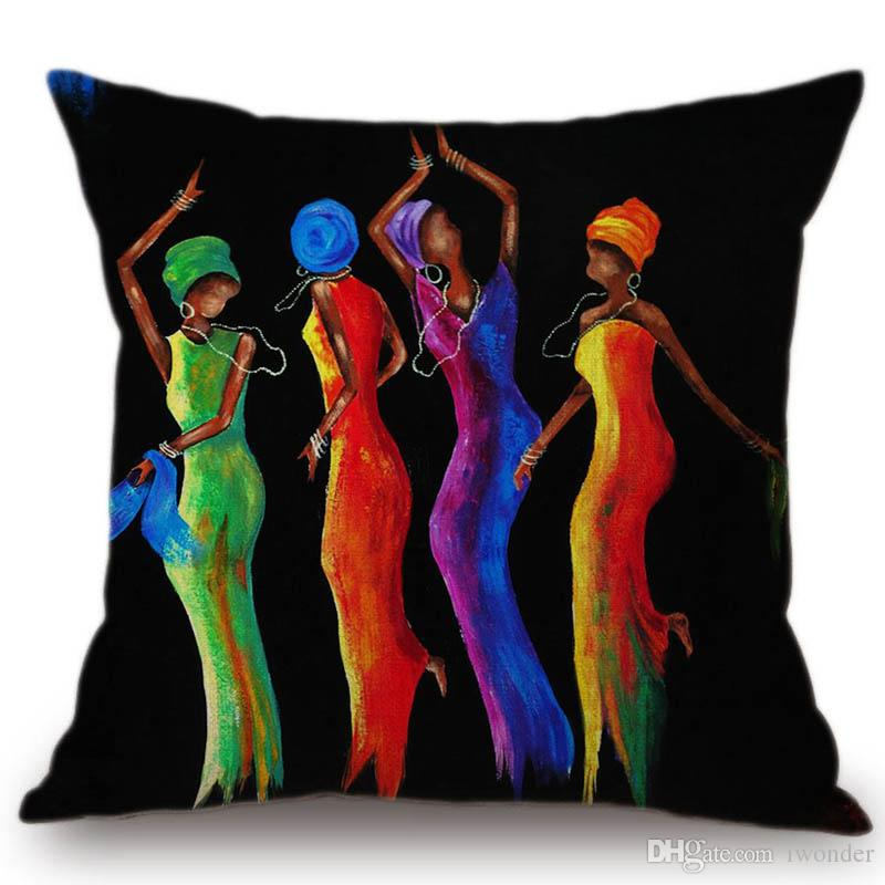 African Dancing Woman Oil Painting Cushion Covers Africa Culture Beige Linen Pillow Cover Colourful Decor For Sofa Chair Seat