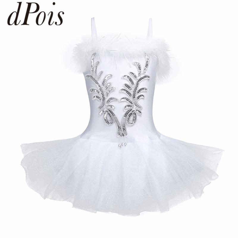 DPOIS Kids Shoulder Straps Sequins Ballet Tutu Dress Swan Dance Leotard Gloves Hair Clip Set Girls Ballerina Stage Dance Costume