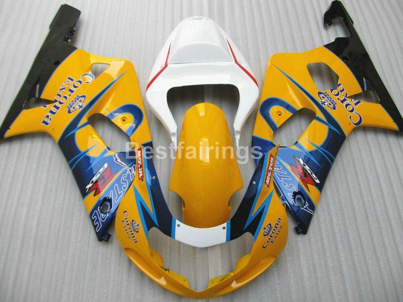 Горячая продажа обтекатель комплект для SUZUKI GSXR600 GSXR750 2004 2005 белый синий желтый GSXR 600 750 K4 K5 обтекатели DF00